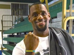 lebron showing off an i promise wristband
