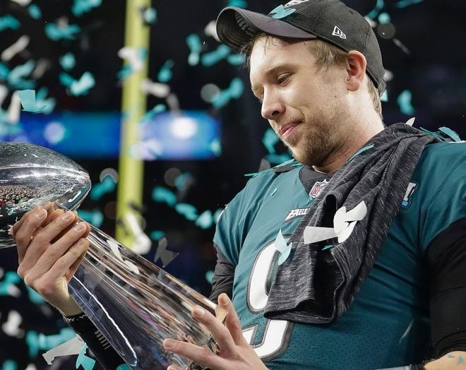 nick foles with the lombardi trophy after winning super bowl lii