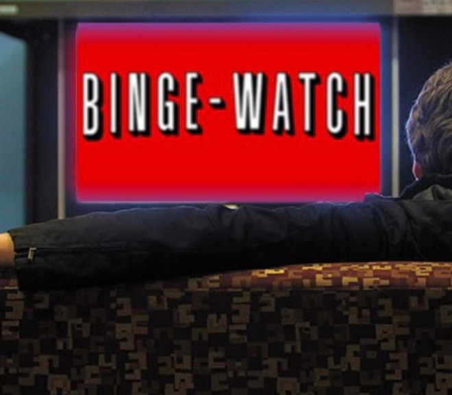 """binge watch"" written like the netflix logo"