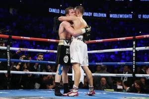 canelo and ggg embrace at the end of their second fight