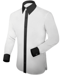 a white shirt with a black collar and black cuffs