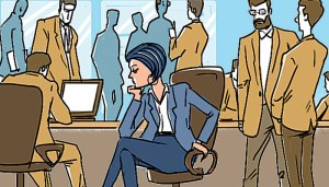 illustration of one woman in an office of men