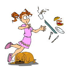 a girl tripping over a dog