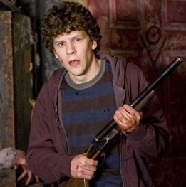 columbus with a gun from the movie zombieland
