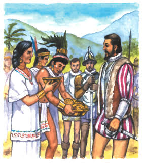 aztecs giving cortés gifts