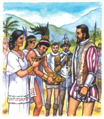 aztecs giving cortés gifts