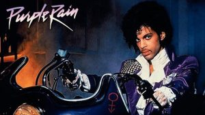 prince on his motorcycle in 'purple rain'
