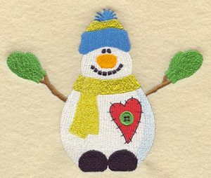 a snowman with a heart