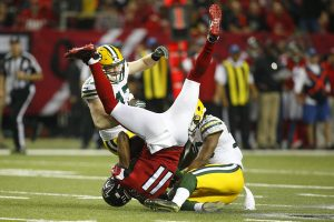 julio jones upended in the 2017 nfl playoffs vs the green bay packers