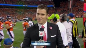 sergio dipp reporting from the broncos sideline