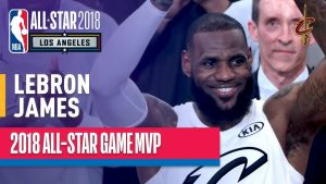 lebron celebrating winning mvp at the 2018 all-star game