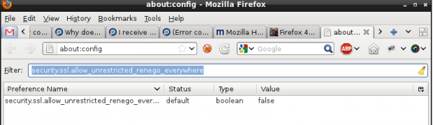 Error (Error code: ssl_error_renegotiation_not_allowed) en Firefox 4.X
