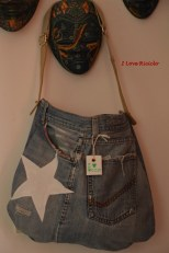 borsa denim con stella intera