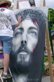 Painting Jesus mural
