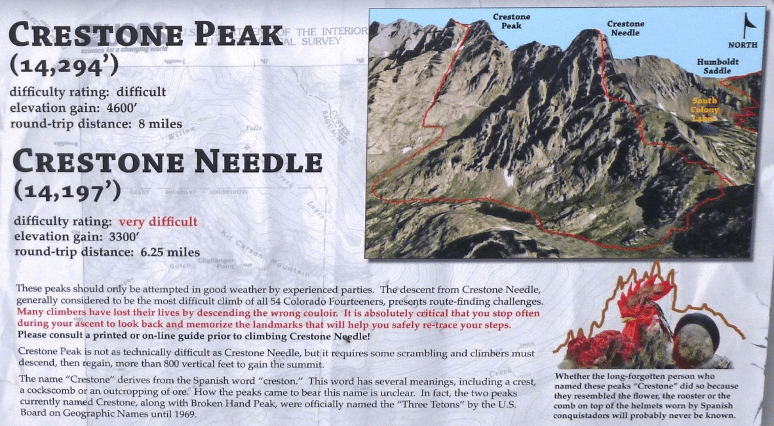 An image of Crestone Peak and Crestone Needle, explaining these climbs are very difficult