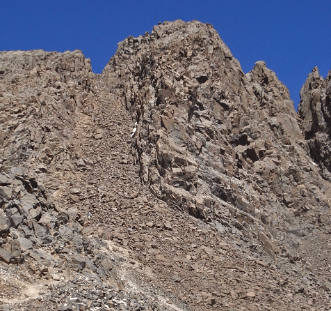 Photograph of a steep gully side filled with loose rocks