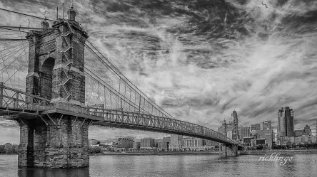 "Roebling Suspension Bridge. Selected for inclusion in ""Best of Photography 2018"" hardcopy coffee-table book sponsored by Photographer's Forum. 2nd place award in ""Black and White"" at international website Pixoto. ""Photo of the Day"" at capturecincinnati.com. Honorable Mention in the Digital Art category at the November, 2018, Middletown Art Center exhibition."