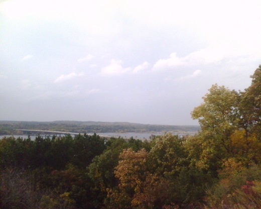 St. Croix River View - North towards Hudson, WI & Stillwater, MN; I94 bridges crossing to MN in view.