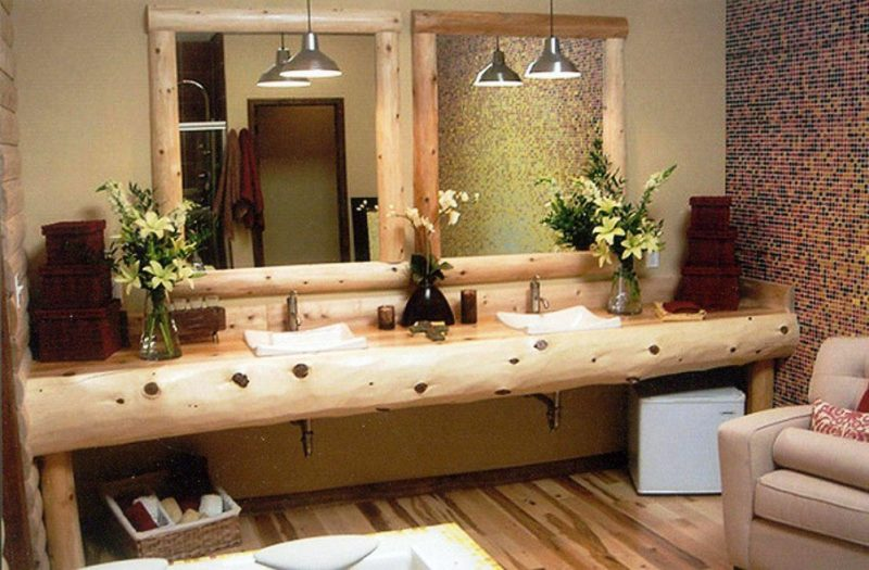 rustic bathroom vanities using wooden log