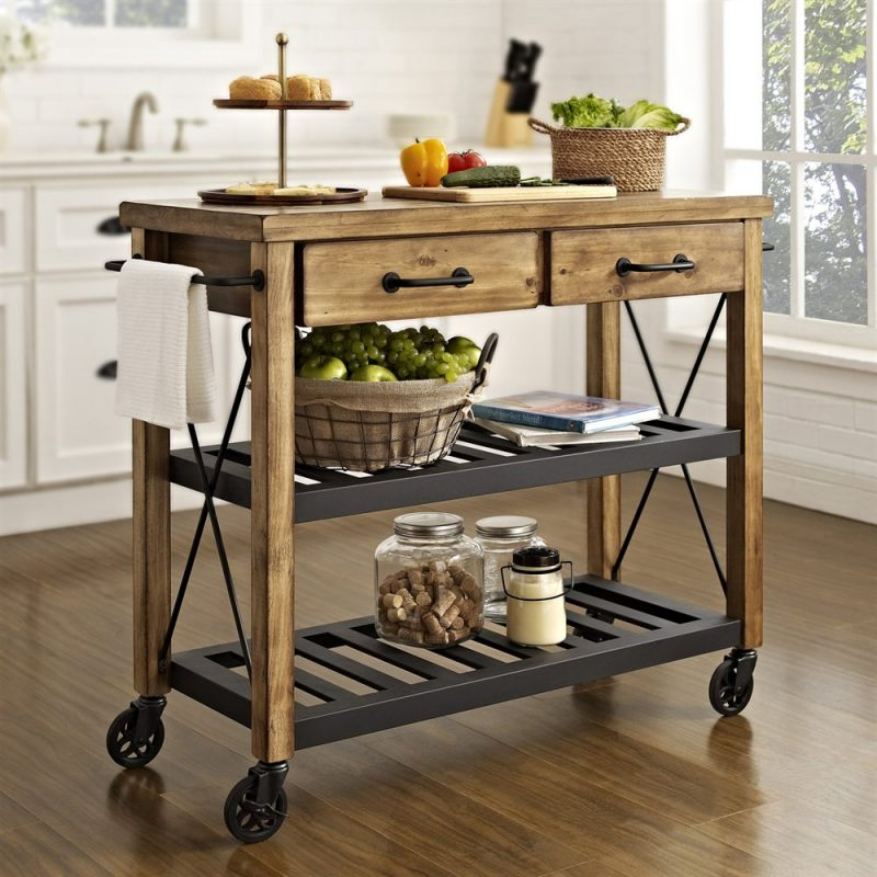 rustic kitchen island with wheels