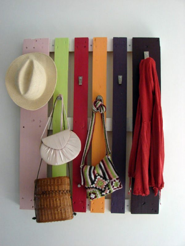 hat rack ideas using colorful panels