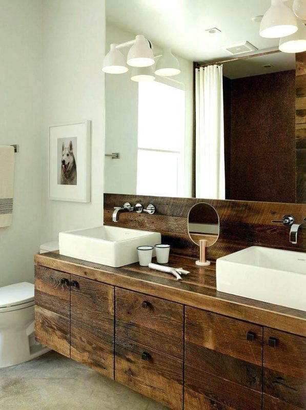 hard and natural rustic bathroom vanities