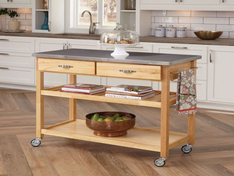two drawers kitchen island with wheels