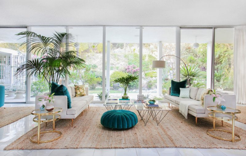 large and wide mid century modern living room