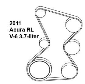 2011 Acura RL V-6 3.7-liter serpentine belt diagram