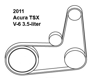 2011 Acura TSX V-6 3.5-liter serpentine belt diagram
