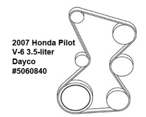 Honda Pilot V-6 3.5-liter serpentine belt diagram — Ricks