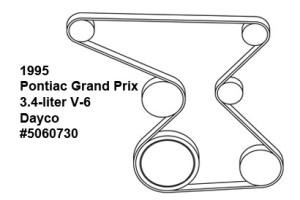 1995 Pontiac Grand Prix V-6 3.4-liter serpentine belt