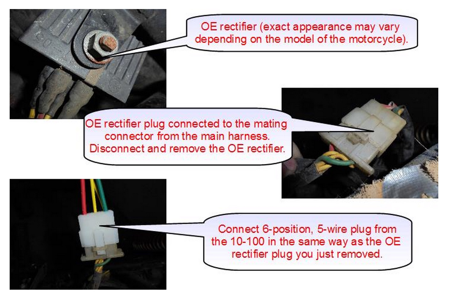 hight resolution of connecting the rectifier disconnect the 6 position 5 wire connector from the oe rectifier plug the identical connector on the 10 100 in its place