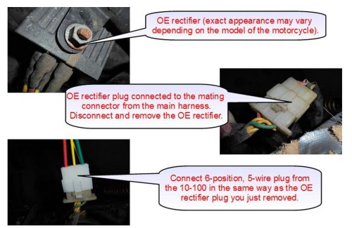 small resolution of connecting the rectifier disconnect the 6 position 5 wire connector from the oe rectifier plug the identical connector on the 10 100 in its place