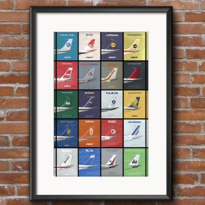 707 Empennage Jetliner Airline Poster – 11 x 17