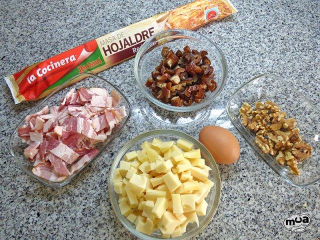 Corona de hojaldre con bacon, dátiles y nueces -2