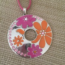 "Lia Sophia ""Flower Power"" Large Pendant Statement Necklace Pink Chord 16-19"". Gently used in excellent condition."