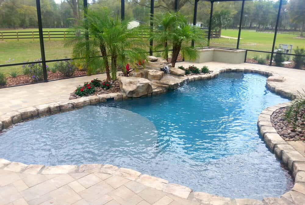 Limestone Texas 2step Swimming Pool Waterfall Ricorock