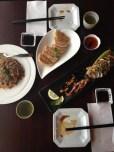 Gyoza, Whole Ika Shioyaki & Salmon Chahan
