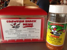 The menu at Crawfish Shack in Crosby, TX
