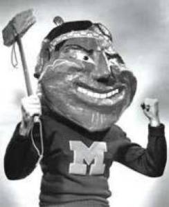 Willie Wampum, the Marquette Warriors mascot from 1961-71