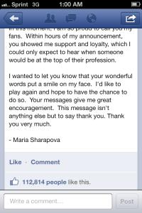 Sharapova Facebook 3
