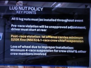 NASCAR lug Nut poilicy revision 4-26-16