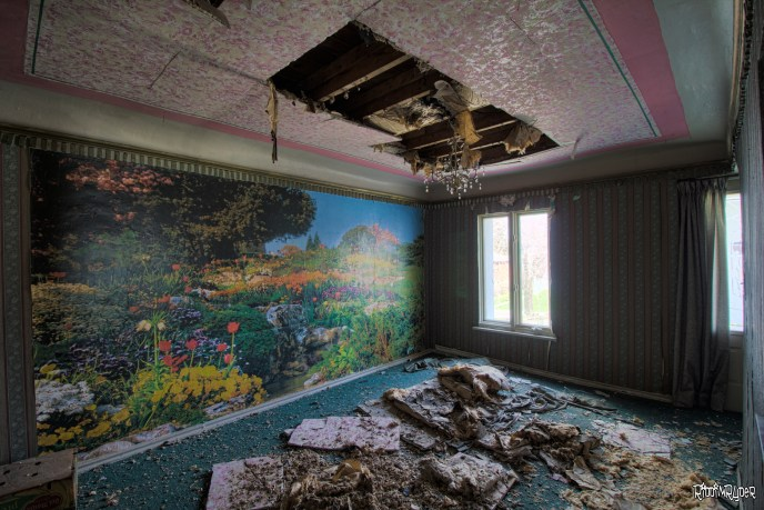 Abandoned castle living room