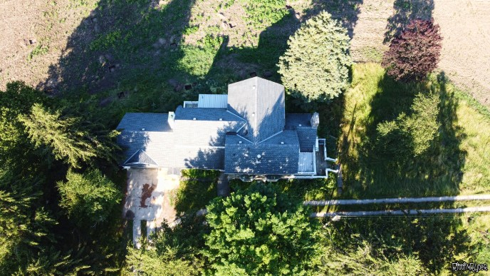 Arial view of the stone house