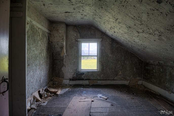 Upstairs the abandoned house