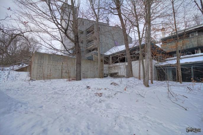 Outside the abandoned ski resort
