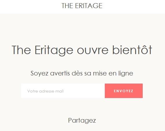 The Eritage : première capture d'écran de la future somptueuse boutique en ligne.
