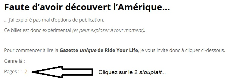 Gazette Ride Your Life : avec des pages dedans !
