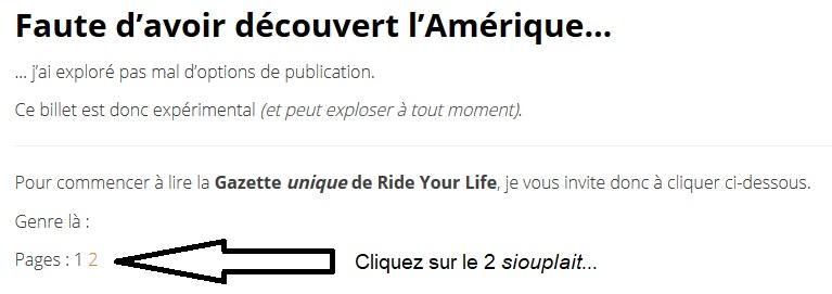 Gazette Ride Your Life : avec des pages dedans !